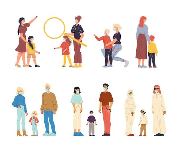 Bambini genitori che indossano la maschera respiratoria Vettore Premium
