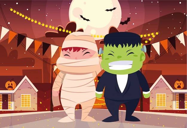 Bambini in costume di halloween Vettore Premium