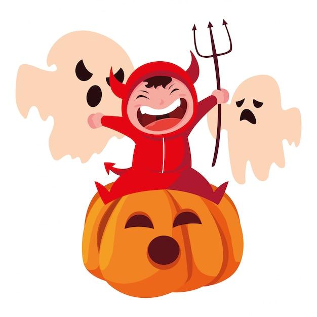 Bambini in costumi di halloween Vettore Premium