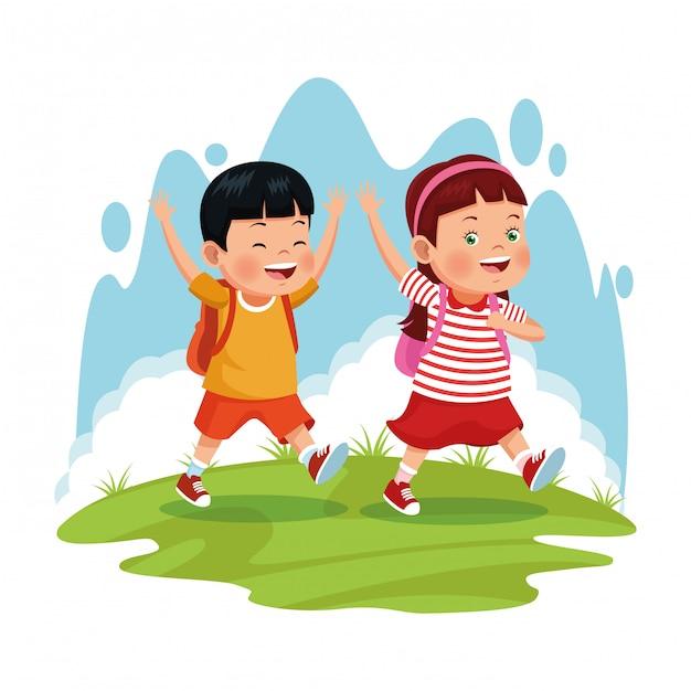 Bambini in gita scolastica Vettore gratuito