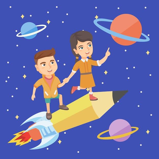 Bambini in sella a una matita a forma di navetta spaziale Vettore Premium
