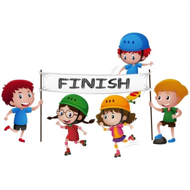 Bambini in un disegno gara rollerskate Vettore gratuito