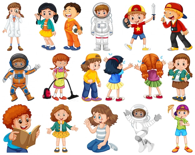 Bambini in un grande gruppo che recitano i nostri ruoli vari Vettore gratuito