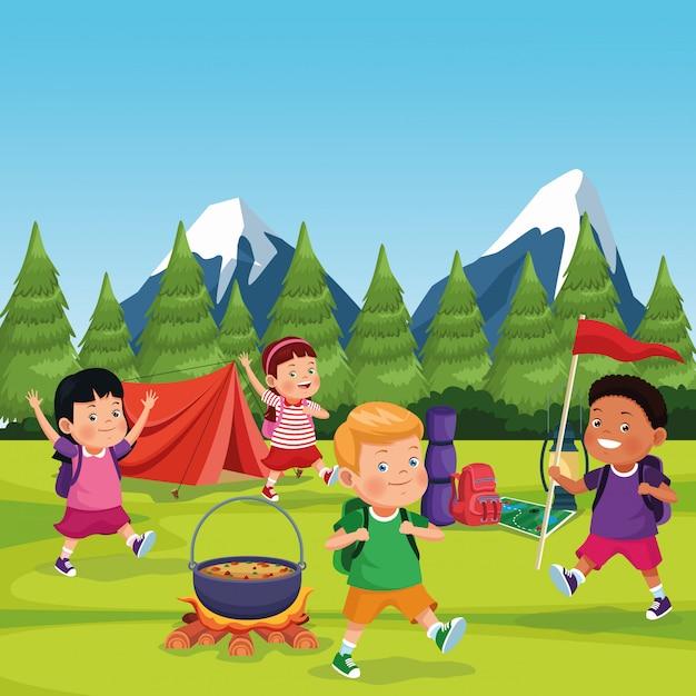 Bambini in una zona di campeggio Vettore gratuito