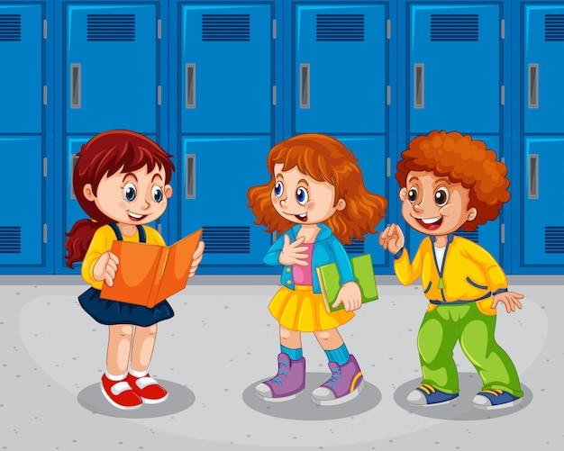Bambini nel corridoio della scuola Vettore Premium