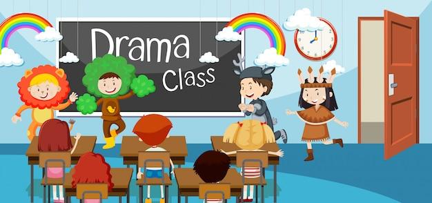 Bambini nella classe di recitazione Vettore Premium