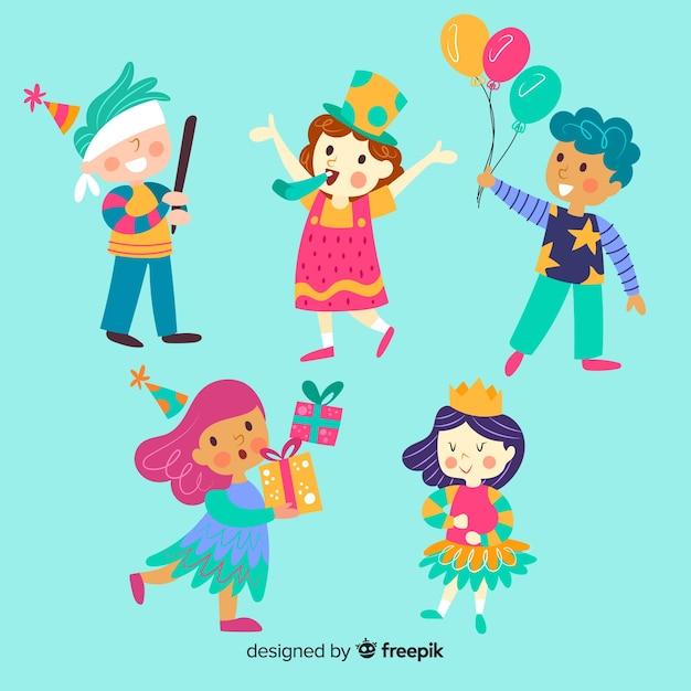 Bambini nella collezione dei compleanni Vettore gratuito