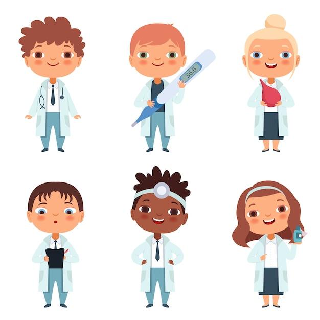 Bambini nella professione medica nelle varie pose d'azione Vettore Premium