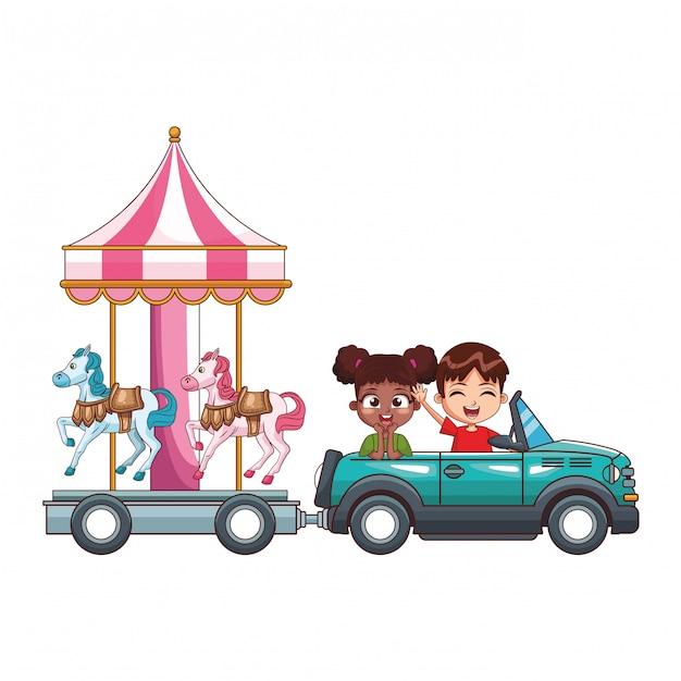 Bambini sorridenti alla guida di un'auto Vettore Premium