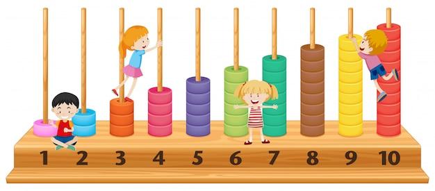 Bambini su abaco colorato Vettore gratuito