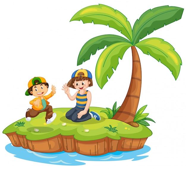 Bambini sulla scena dell'isola Vettore gratuito