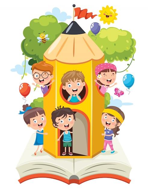 Bambini svegli che giocano alla casa della matita Vettore Premium