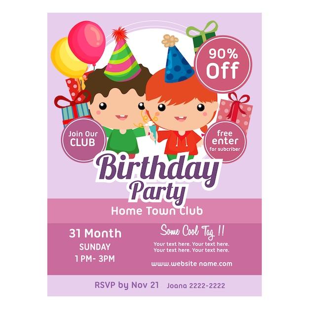 Bambini svegli del modello dell'invito della festa di compleanno Vettore Premium