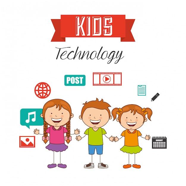 Bambini tecnologici Vettore Premium
