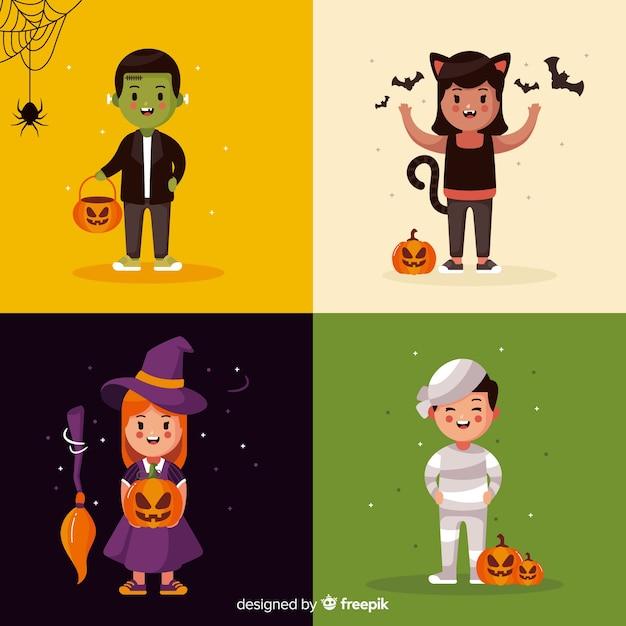 Bambini vestiti come collezione di carte di creature di halloween Vettore gratuito
