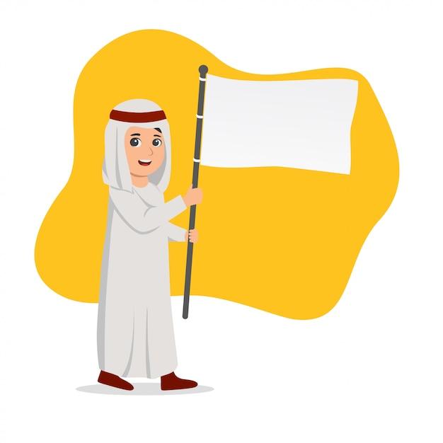 Bambino arabo che trasporta un'illustrazione in bianco della bandierina Vettore Premium
