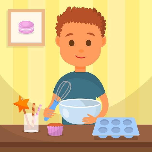 Bambino che cucina l'illustrazione saporita di vettore del dessert Vettore Premium