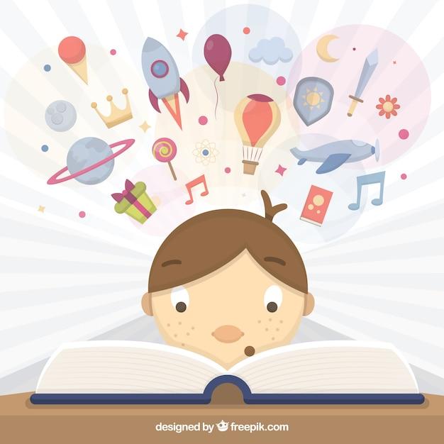 Bambino che legge un libro illustrazione scaricare - Immagine del mouse a colori ...