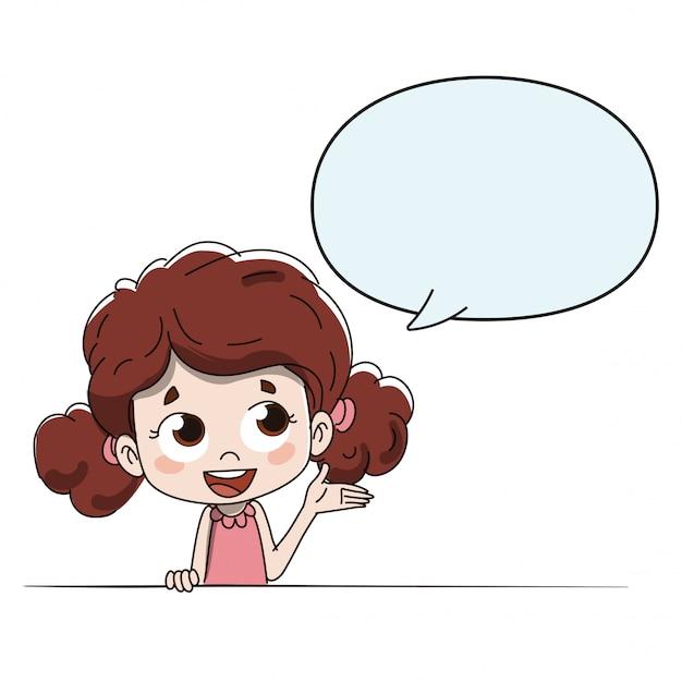 Bambino che parla o dà indicazioni con un gobo comico Vettore Premium