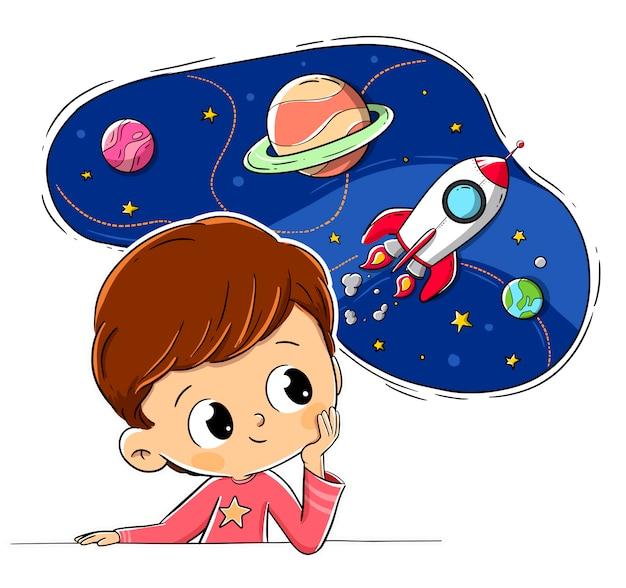 Bambino che pensa immaginando spazio Vettore Premium