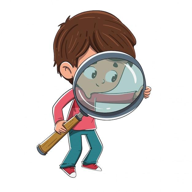 Bambino con una lente di ingrandimento in cerca di qualcosa Vettore Premium