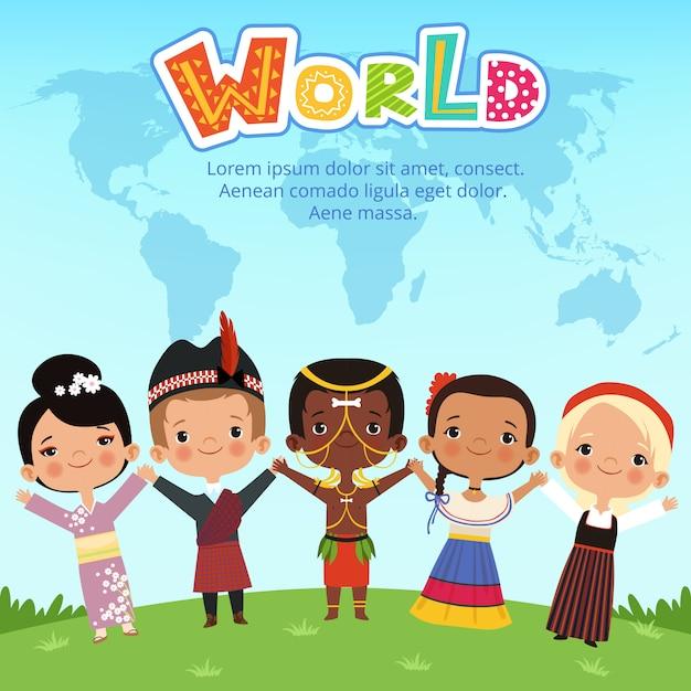 Bambino di diverse nazionalità in tutto il mondo in piedi sulla terra Vettore Premium