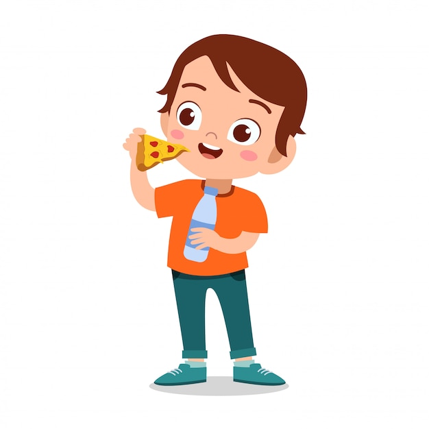 Bambino felice di mangiare Vettore Premium