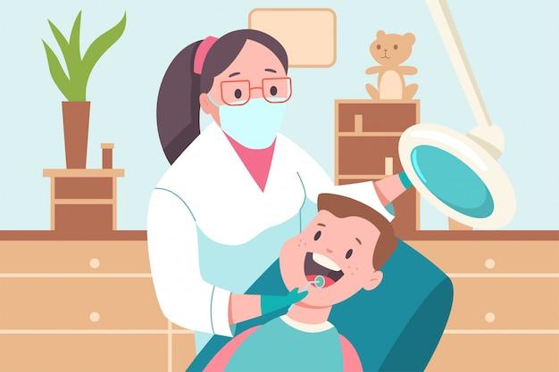 Bambino in uno studio dentistico. medico dentista e paziente. illustrazione medica piana del fumetto di vettore. Vettore Premium