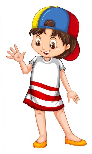 Bambino sorridente felice sveglio isolato Vettore Premium