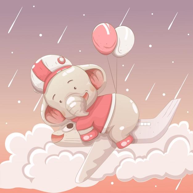 Bambino sveglio dell'elefante che galleggia nel cielo che guida un aereo Vettore Premium