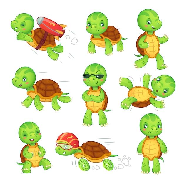 Bambino tartaruga esecuzione di personaggi dei cartoni animati veloce tartaruga. Vettore Premium