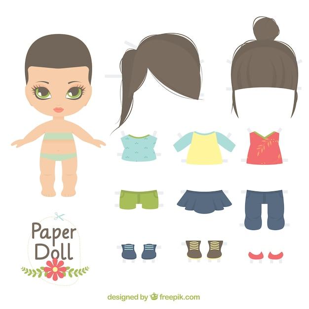Bambola di carta carino Vettore gratuito