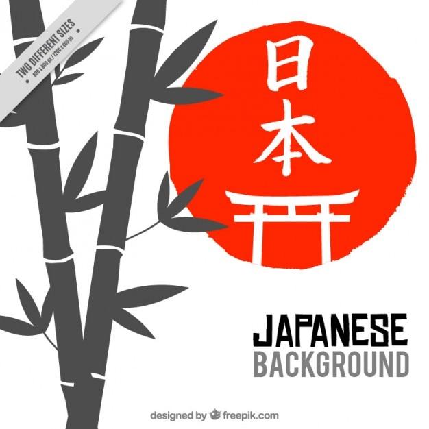 Bambù con cerchio sfondo rosso Vettore gratuito