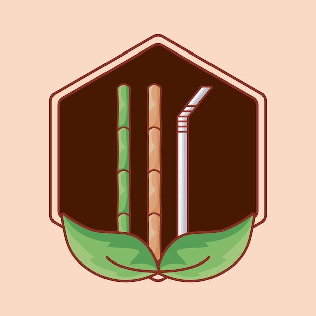 Bambù e paglia in cornice con foglie Vettore Premium