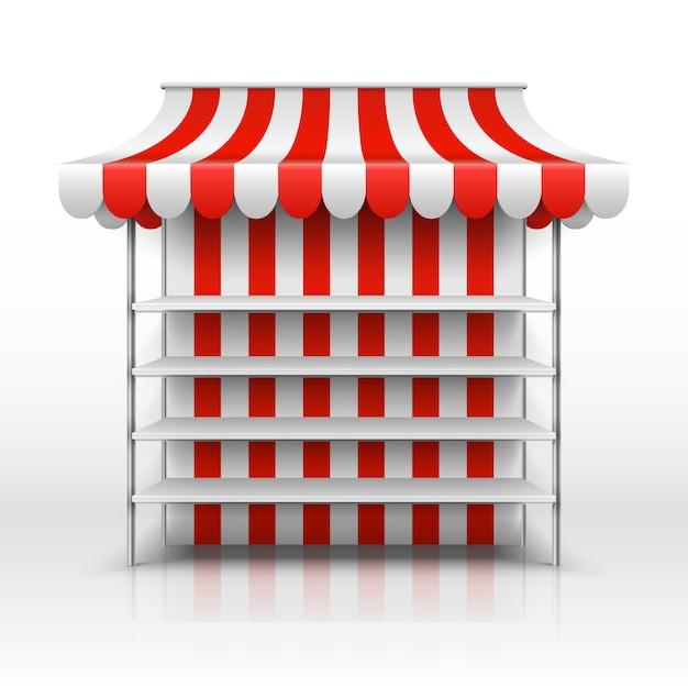 Bancarella del mercato vuota. chiosco con modello vettoriale tenda a strisce. illustrazione del chiosco del mercato con la tenda, la vendita al dettaglio e la via del deposito Vettore Premium