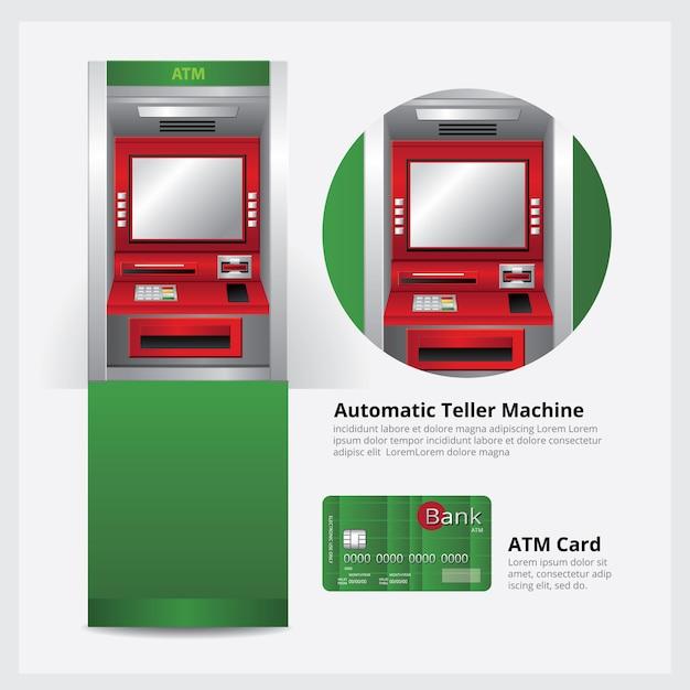 Bancomat macchina automatica con illustrazione vettoriale atm card Vettore Premium