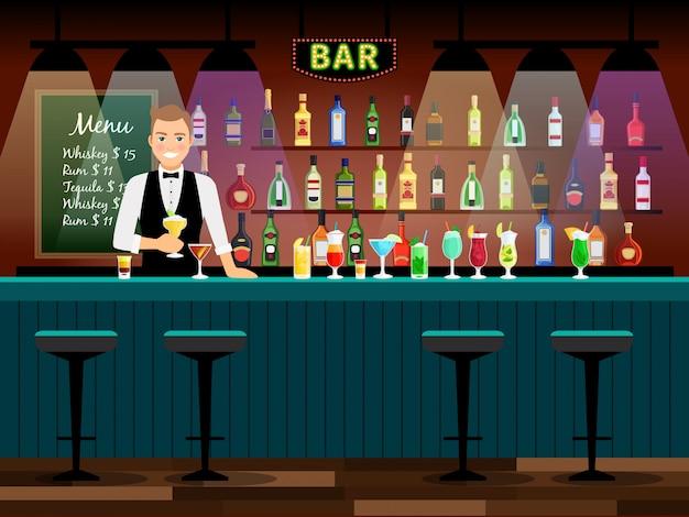 Bancone bar con barman e bottiglie di vino sugli scaffali. illustrazione vettoriale Vettore Premium