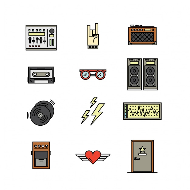 Band e concert icon symbol Vettore Premium