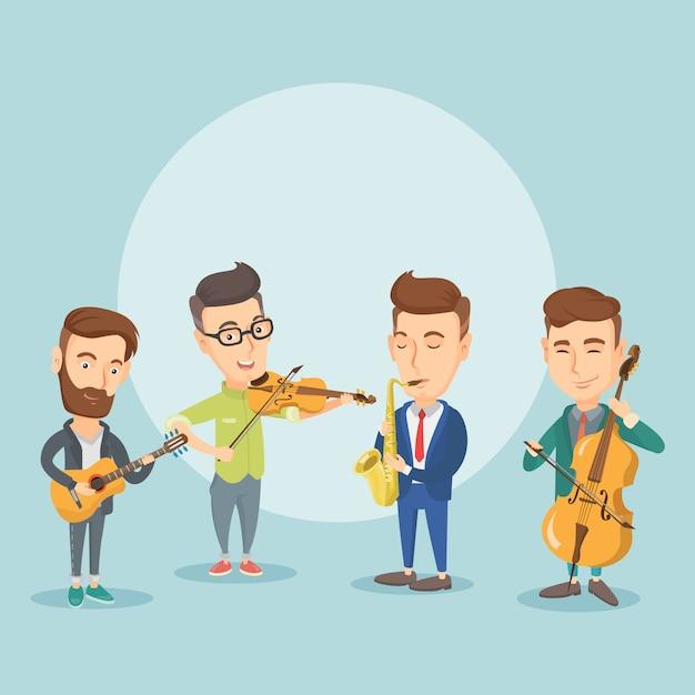 Banda di musicisti che suonano strumenti musicali. Vettore Premium