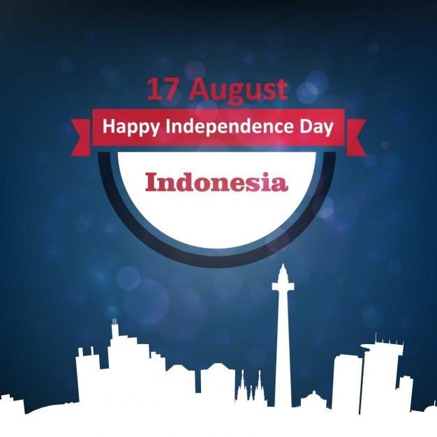 Bandiera 17 agosto indonesia ribbon Vettore gratuito