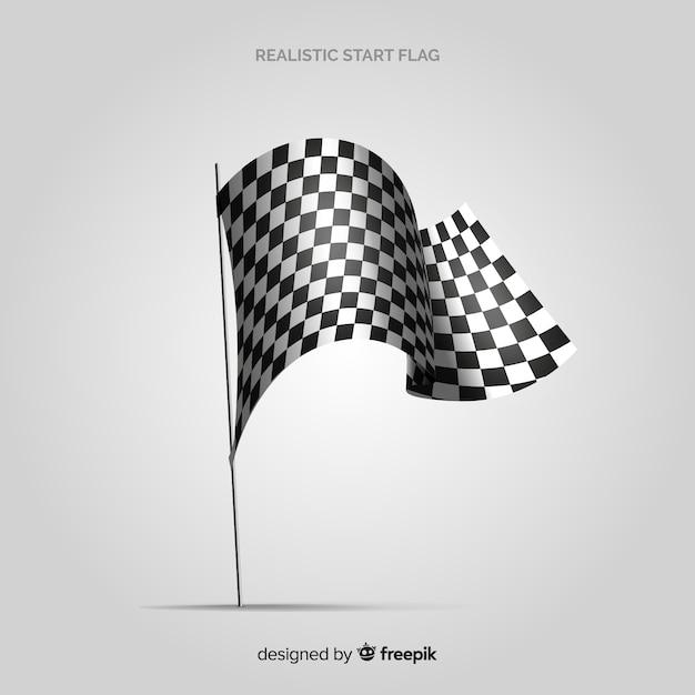 Bandiera a scacchi classica con un design realistico Vettore gratuito