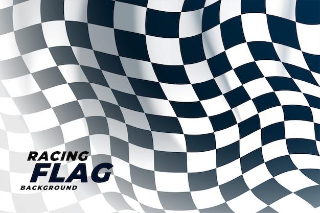 Bandiera a scacchi sventolando fuori sfondo Vettore gratuito
