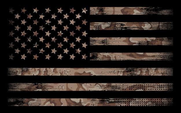 Bandiera americana con desert camo background Vettore Premium