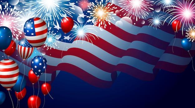 Bandiera americana e palloncini con banner di fuochi d'artificio per usa 4th of july usa independence day Vettore Premium
