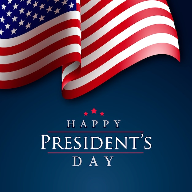 Bandiera americana realistica del giorno del presidente Vettore gratuito