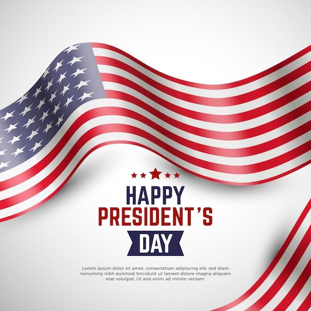 Bandiera americana realistica per la festa del presidente con scritte Vettore gratuito