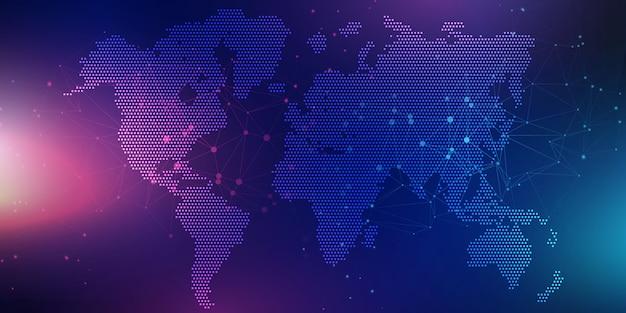 Bandiera astratta con mappa del mondo Vettore gratuito