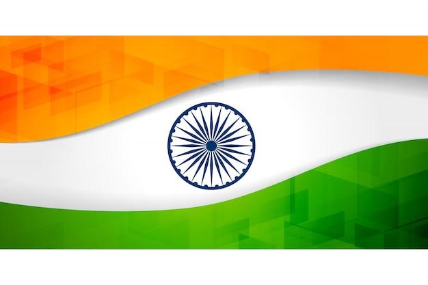 Bandiera bandiera indiana con motivo geometrico Vettore gratuito