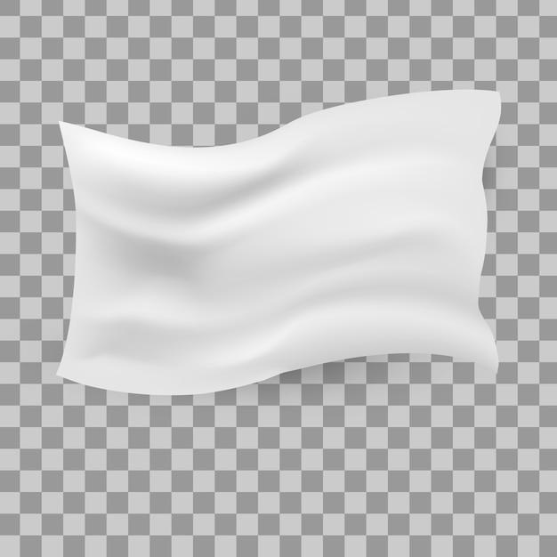 Bandiera bianca sventolante. pulire la tela orizzontale Vettore Premium