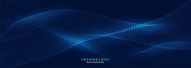 Bandiera blu di tecnologia delle particelle fluenti digitali Vettore gratuito